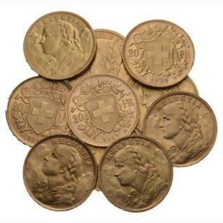 20 Franken Goldvreneli Schweiz Lot 10 Stück div. Jahrgänge *(X)