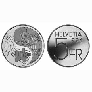 Schweiz 5 Franken 1984 B Auguste Piccard