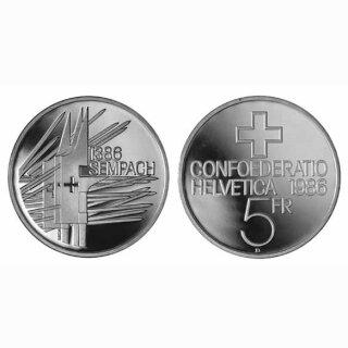 Schweiz 5 Franken 1986 B Sempach