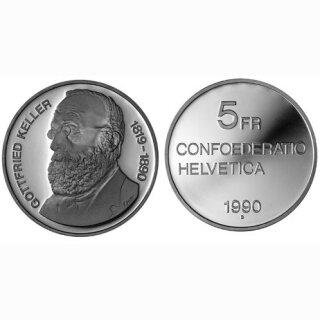 Schweiz 5 Franken 1990 B Gottfried Keller