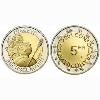 Schweiz 5 Franken 2001 B Zürcher Sechseläuten