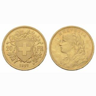 Schweiz 20 Franken 1897 B Vreneli