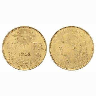 Schweiz 10 Franken 1922 B Vreneli