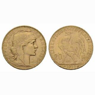 Frankreich  20 Francs 1913 Coq