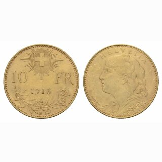 Schweiz 10 Franken 1916 B Vreneli