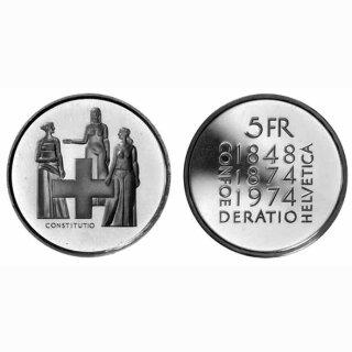 Schweiz 5 Franken 1974 B Verfassung