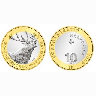 Schweiz 10 Franken 2009 B Rothhirsch