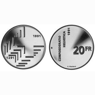 Schweiz 20 Franken 1991 B 700 Jahre Eidgenossenschaft