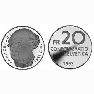 Schweiz 20 Franken 1993 B Paracelsus