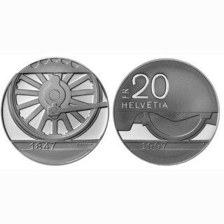 Schweiz 20 Franken 1997 B 150 Jahre CH- Bahnen