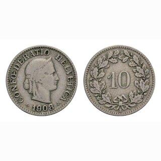 10 Rappen 1908 Schweiz