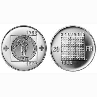 Schweiz 20 Franken 1998 B 200 Jahre Helvetische Republik