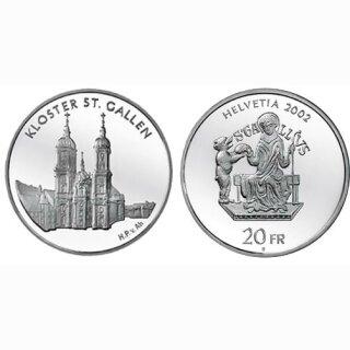 Schweiz 20 Franken 2002 B Kloster St. Gallen