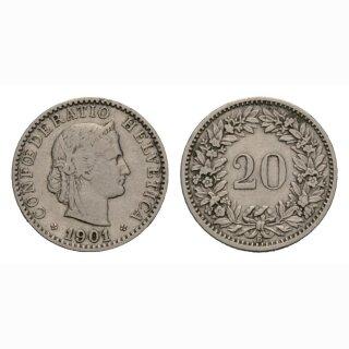 20 Rappen 1901 Schweiz