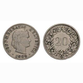 20 Rappen 1908 Schweiz