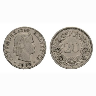 20 Rappen 1909 Schweiz