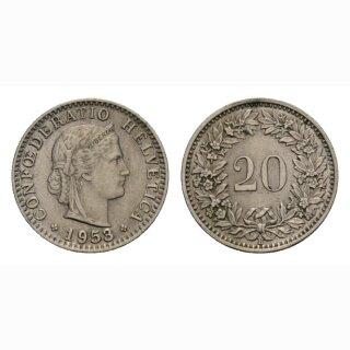 20 Rappen 1953 Schweiz