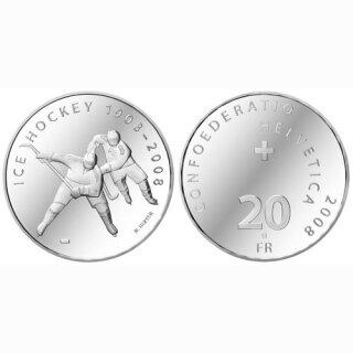 Schweiz 20 Franken 2008 B 100 Jahre Eishockey