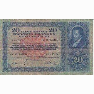 20 Franken Note Pestalozzi 1940 gebraucht