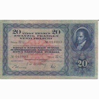 20 Franken Note Pestalozzi 1947 gebraucht+