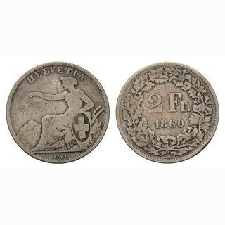 2 Franken 1860 Schweiz
