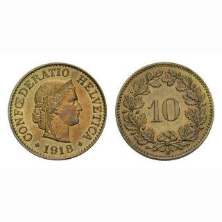 10 Rappen 1918 Messing Schweiz