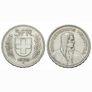 5 Franken 1939 B Schweiz