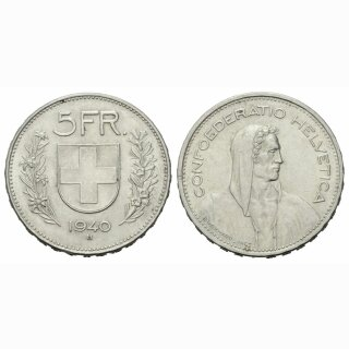 5 Franken 1940 B Schweiz