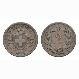 2 Rappen 1870 B Schweiz