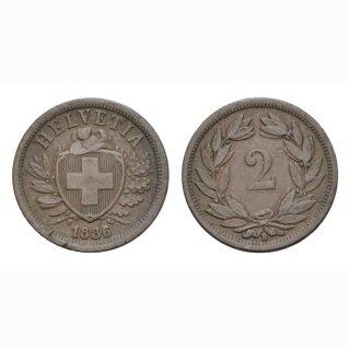 2 Rappen 1886 B Schweiz