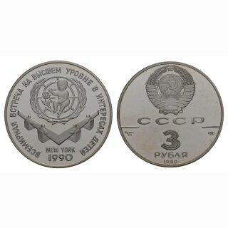 Russland 3 Rubel 1990 UNO Kinderhilfsjahr Silber