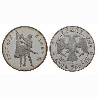 Russland 3 Rubel 1993 Pawolowa Silber