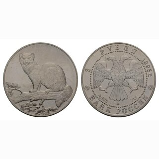 Russland 3 Rubel 1995 Zobel Silber