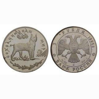 Russland 3 Rubel 1995 Luchs Silber