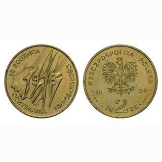 Polen 2 Zloty 1998  80 Jahre Unabhängigkeit