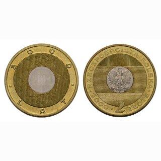 Polen 2 Zloty 2000 Millenium