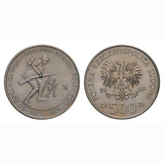 Polen 500 Zloty 1989 50 Jahrestag 2. Weltkrieg