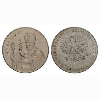 Polen 10000 Zloty 1987 Johannes Paul II Silber