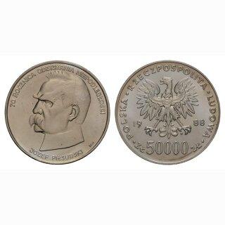 Polen 50000 Zloty 1988 70 Jahre Unabhängigkeit Silber