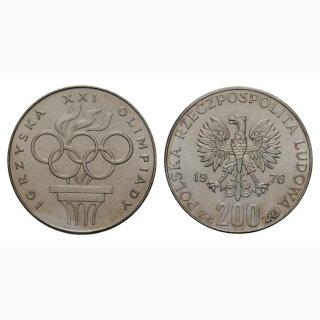 Polen 200 Zloty 1976 21. Olympiade Silber