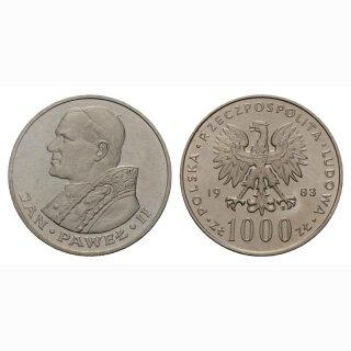 Polen 1000 Zloty 1983 Johannes Paul II Silber