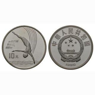 China 10 Yuan 1990 Olympiade  Kunstturner Silber