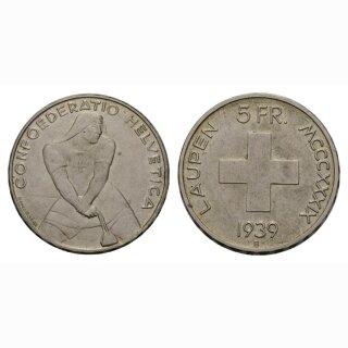 5 Franken 1939 Laupen vz-unz