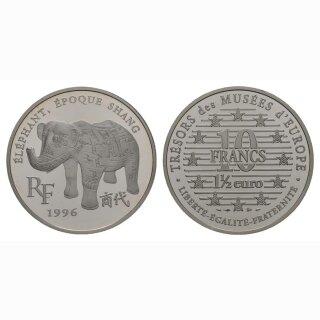Frankreich  10 Francs/ 1.5 Euro 1996 Shang Dynastie  Elefant