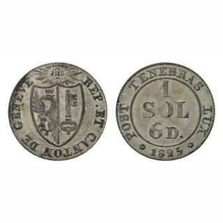 Genf 1 Sol 1825 Kantonsmünze