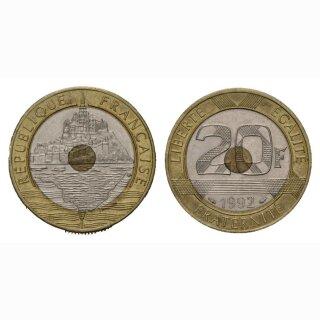Frankreich 20 Francs 1992 Mont St. Michel