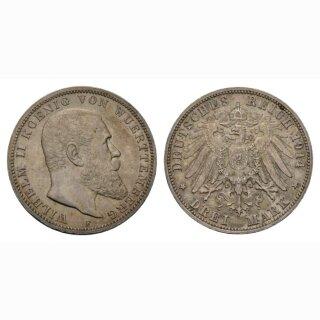 Württemberg (DE) 3 Mark 1914 F König Willhelm II
