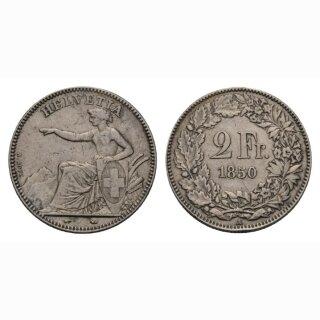 Schweiz 2 Franken 1850 Sitzende Helvetia