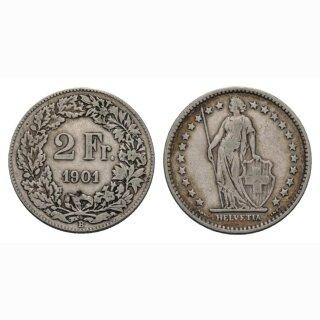 Schweiz 2 Franken 1901 Stehende Helvetia
