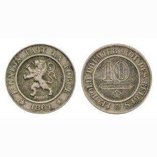 Belgien 10 Centimes 1864 Leopold I